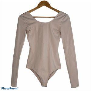 Wilfred Nude Scoop Neck Long Bodysuit Sz Small